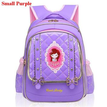 Cool Backpack school Coolbaby Fashion PU Princess Backpack Sweet Lovely Girl's School Bag Alleviate Excessive Burden Pupil School Backpacks M732 AT_52_3
