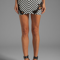 DRESS THE POPULATION Robin Stripe Skirt with Side Crochet Inserts in Ivory from REVOLVEclothing.com