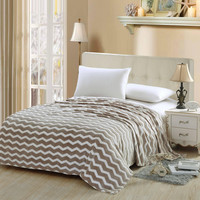 Chevron Modern Wave Beige Twin Size Ultra Plush Micro Fleece Blanket