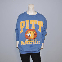 Vintage Pitt Big East Basketball Sweatshirt University of Pittsburgh Pennsylvania Panthers Blue and Gold College Retro Crewneck Size Large