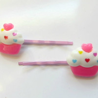 Pink Cupcake bobby pins, rainbow sprinkles, cute bobby pins, hair accessories, pastel bobby pins, kawaii hair clips, Valentine's Day gift