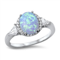 925 Sterling Silver CZ Simulated Diamond and Lab Light Blue Opal Oval Center Designer Halo Ring 12MM