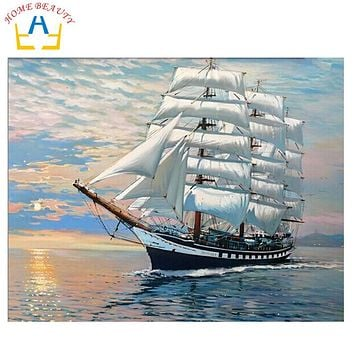 HOME BEAUTY 40x50cm diy digital oil painting by numbers home decoration craft unique gift picture paint on canvas sea boat G423