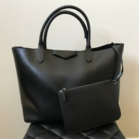Givenchy Black Antigona Whipstitch-Handle Tote Bag