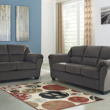 Ashley Furniture 33400-38-35 2 pc Kinlock collection charcoal fabric upholstered sofa and love seat set with overstuffed arms