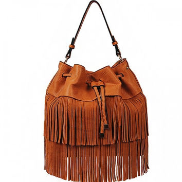 Fringe Drawstring Bag