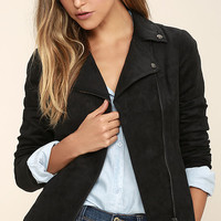 Olive & Oak Highly Desired Black Suede Moto Jacket
