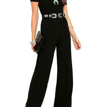 Black Sashes Draped Sewing High Waisted Long Jumpsuit