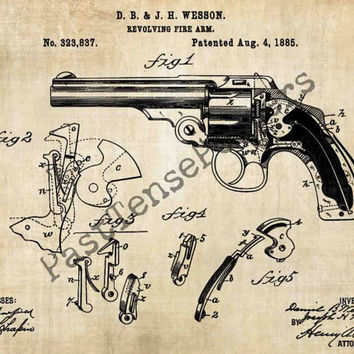 Wesson Revolver Patent Poster - Original 1885 Patent - Vintage Print - Patent Print - Patent Poster - Vintage Wall Art