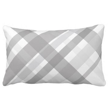 plaid pillow gray and white design