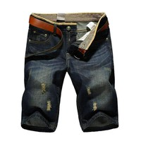 , Large Size Summer Mens Casual Jeans Shorts ,Hole Denim Shorts Men 40 42 44