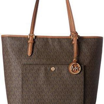 Michael Kors Mk Jet Set Signature Shoulder Bag Brown Large