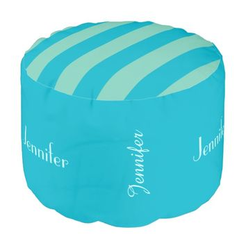 Personalized Stripe Pouf Cushion Seat Scuba Blue