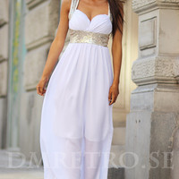 Goddess Dress - Gold Sequin Detail Maxi Dress in White