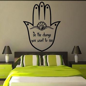 Fatima Hand Wall Decals Quote Be The Change Indian Hamsa Hands Lotus Mandala Om Sign Design Home Vinyl Decal Sticker Bedroom Decor KG231