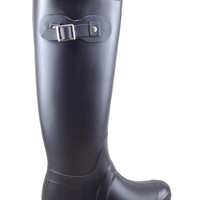 Black Rain Boot with Buckle Detail
