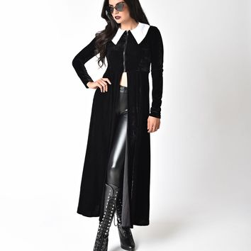 Folter Black Velvet Long Sleeve High Priestess Maxi Coat