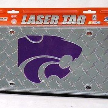 Kansas State Wildcats NCAA Laser Cut Diamond Plate License