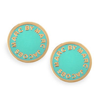 MARC by Marc Jacobs Enamel Logo Disc Stud Earrings, Green