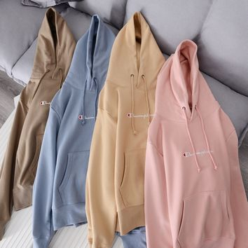 Champion Embroidery Small Logo Hoodie Sweatshirt