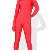 Red Zipped Catsuit | Red Lycra Catsuit | Full Body Catsuit