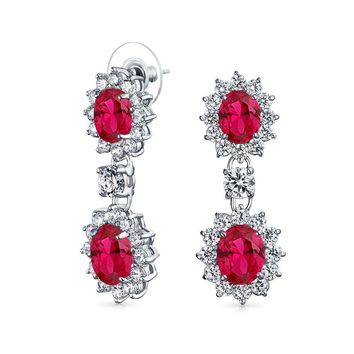 Red Oval CZ Prom Statement Dangle Earrings  Simulated Ruby Silver Plated