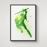 Legend of Zelda, Link, Alternative Poster, Watercolor Painting, Archival Fine Art, Home Wall Decor, Giclee Print,