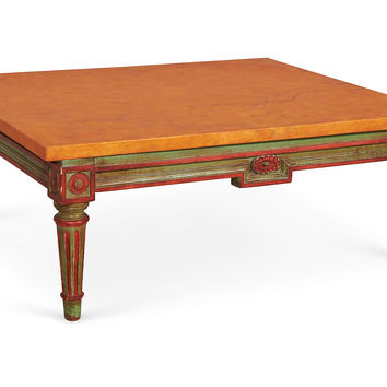 Orange & Green Marble-Top Cocktail Table, Coffee Table Base, Sofa Table