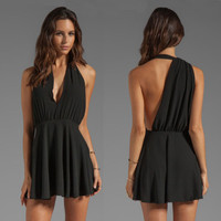 Fashion sleeveless V-neck backless dress