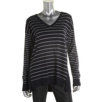 Vince Camuto Womens Striped V-Neck Pullover Sweater