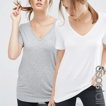 ASOS TALL The New Forever T-Shirt With Dip Back 2 Pack SAVE 10%