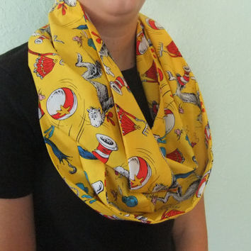 Infinity Scarf - Loop Scarf - Circle Scarf -made by me with Cat in the Hat fabric - yellow