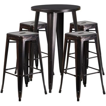 24'' Round Black-Antique Gold Metal Indoor-Outdoor Bar Table Set with 4 Square Seat Backless Stools [CH-51080BH-4-30SQST-BQ-GG]