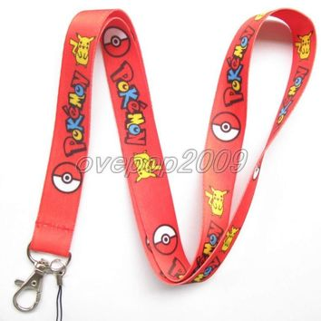 Lot 10Pcs  Pikachu Anime Mobile Cell Phone Lanyard Neck Straps Party Gifts S85Kawaii Pokemon go  AT_89_9