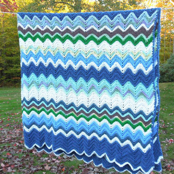 "Vintage crochet chevron or zig-zag blanket afghan in blue turquoise green off-white 78"" x 73"""