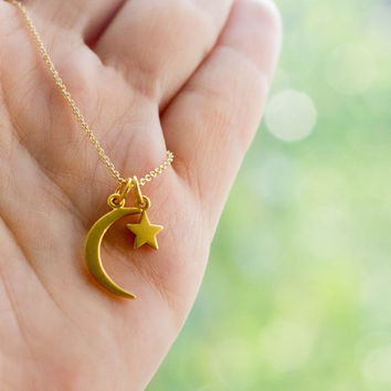 Solid Gold Crescent Moon Star Necklace - 14k Gold Charm Necklace. Moon of My Life. My Sun and Stars. Islamic Jewelry for Her