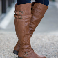 Wild Heart Over the Knee Boots - Cognac