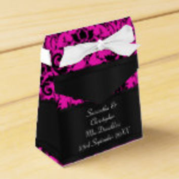 Black and fuchsia pink damask wedding party favor box