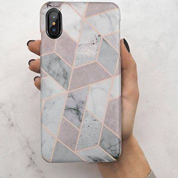iPhone X Case,iPhone 10 Case,Geometric Grey Marble,LUMARKE Slim-Fit Matte TPU Clear Bumper Flexible Rubber Silicone Rugged Thin Protective Phone Case Cover for iPhone X