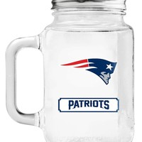 New England Patriots Mason Jar Glass With Lid