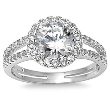 Choose Color Womens Promise Ring Rhodium Plated Sterling Silver Halo Split Shank Engagement Promise Ring