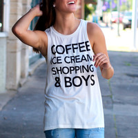 Coffee, Ice Cream, Shopping, Boys Tank {White}