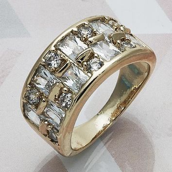 Gold Layered Women Multi Stone Ring, with White Cubic Zirconia, by Folks Jewelry