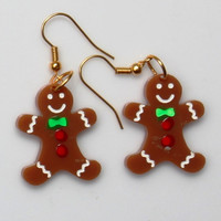 Gingerbreadman Earrings,Plexiglass Jewelry,Lasercut Acrylic,Gifts Under 25