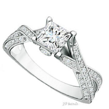 Solitaire Diamond Crossover Ring
