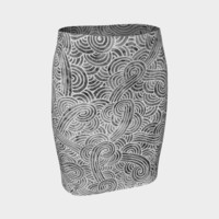 Grey and white swirls doodles Fitted Skirt Fitted Skirt