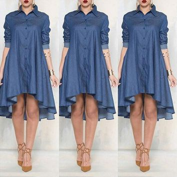 7fe1f482fa9a Vintage Casual Women Loose Long Sleeve Denim Shirt Dress New Arr