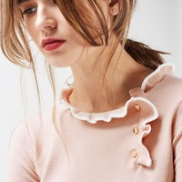 Tipped Button Frill Knitted Top | Topshop