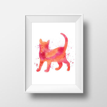 Cat poster Watercolor cat Girls room decor Cat art print Cat wall decor Cat silhouette decor Red cat print Cat home decor Animals wall art