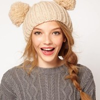ASOS Rib Two Pom Beanie at asos.com